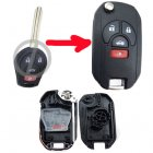 Flip Key Shell Modified for Nissan 4 Button