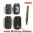 Blank Shell Modified for Peugeot,Citroen Flip Key 2 Button with Battery Holder (HU83,Renault Style)