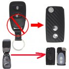 Flip Key Shell Modified for Hyundai New Elantra 2 Button (with 3D Carbon Fiber Sticker)