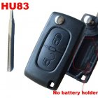 Blank Shell for Peugeot,Citroen Flip Key 2 Button NO Battery Holder (HU83)