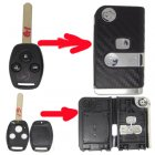 Flip Key Shell Modified for Honda Remote Combo 3 Button (with 3D Carbon Fiber Sticker)