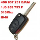 Flip Key for VW Audi Remote Transmitter 3+1 Button (FCC: 4D0M,4D0E,4D0P,1J0F)