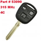 Remote Key for Toyota 3 Button 315 MHz (Toy43,4C,Part # 53090)