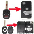 Flip Key Shell Modified for Honda Remote Combo 4 Button (with 3D Carbon Fiber Sticker)