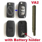 Blank Shell Modified for Peugeot,Citroen Flip Key 3 Button with Battery Holder (Trunk,VA2,Renault Style)