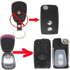 Flip Key Shell Modified for Hyundai Elantra 2 Button (with 3D Carbon Fiber Sticker)