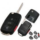 Flip Key Blank Shell for Volkswagen (VW) 4 Button (Square)