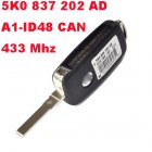 433MHZ REMOTE KEY WITH A1 CHIP FOR VW 5K0 837 202 AD AJ AE AQ
