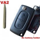 Blank Shell for Peugeot,Citroen Flip Key 2 Button NO Battery Holder (VA2)