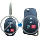 Flip Key Shell Modified for 2012 Toyota Camry 4 Button