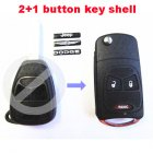 Flip Key Shell Modified for Chrysler,Dodge,Jeep Remote Combo 2+1 Button (with Battery Location)