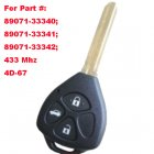 Remote Key for Toyota 3 Button (Trunk,Toy43,433MHz,4D67,Part # 89071-33340)