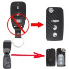 Flip Key Shell Modified for Hyundai Sonata NF 3 Button (with 3D Carbon Fiber Sticker)