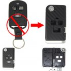 Flip Key Shell Modified for Hyundai Sonata 3 Button (with 3D Carbon Fiber Sticker)