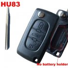 Blank Shell for Citroen Flip Key 3 Button NO Battery Holder (HU83,Trunk)