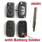 Blank Shell Modified for Peugeot,Citroen Flip Key 3 Button with Battery Holder (Trunk,HU83,Renault Style)