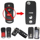 Flip Key Shell Modified for Nissan Livina 2+1 Button (with 3D Carbon Fiber Sticker)