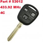 Remote Key for Toyota 3 Button 433.92 MHz (Toy43,4C,Part # 53012)