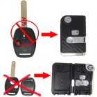Flip Key Shell Modified for Honda Remote Combo 2 Button (with 3D Carbon Fiber Sticker)