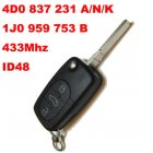 Flip Key for VW Audi Remote Transmitter 3 Button (FCC: 4D0A,4D0N,4D0K,1J0B)