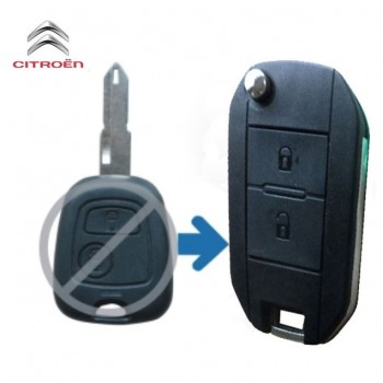 Citroen Flip Key Shell 2 Button with uncut blade