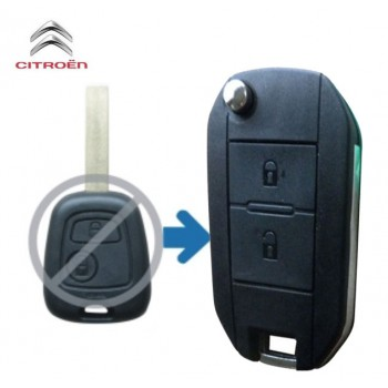 Citroen Flip Key Shell 2 Button with no groove uncut blade